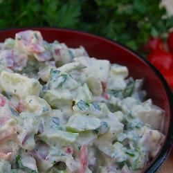 Salade de patates végétalienne crémeuse
