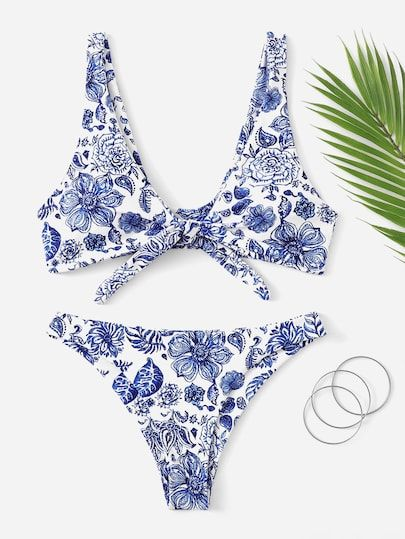 Random Floral Knot Front Top With Cheeky Bikini Set