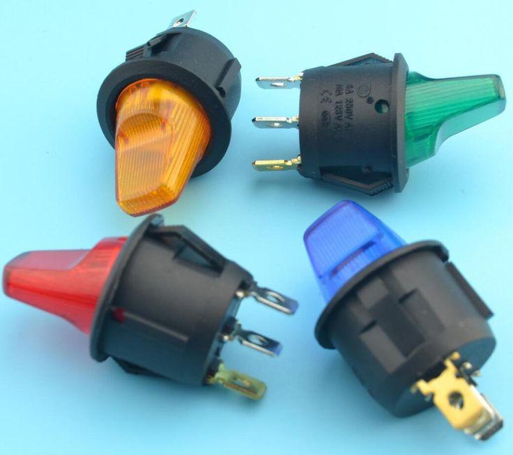 12 шт. rocker switch с 12 В горит лампа 10a/6a 125vac/250vac купить на AliExpress