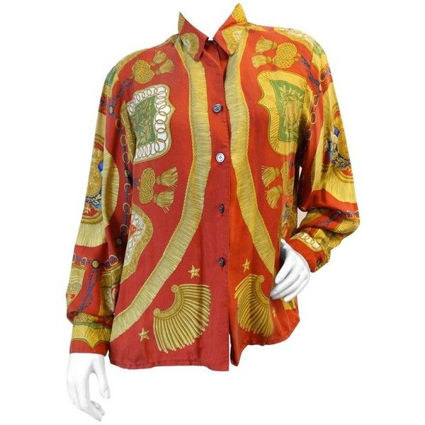 Preowned 1980s Hermes Poste Et Cavalerie Printed Silk Shirt (£420) ❤ liked on Polyvore featuring tops, blouses, brown, silk button up shirt, button down collar shirts, red shirt, button-down shirts and red collar shirt