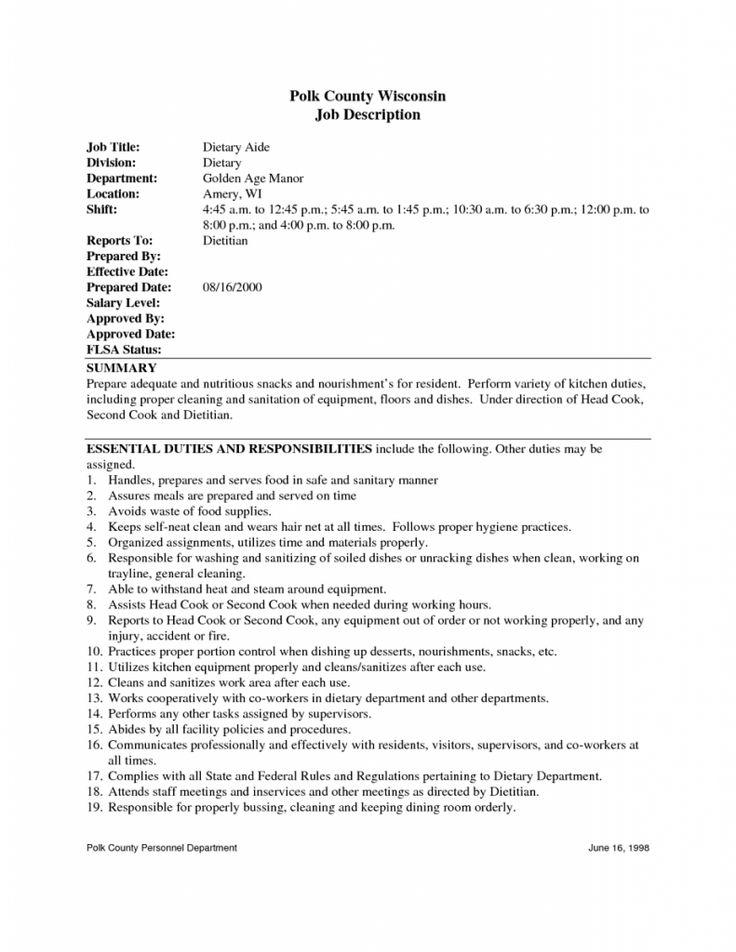 Dietary Aide Sample Resume Dietary Aide Resume Responsibilities