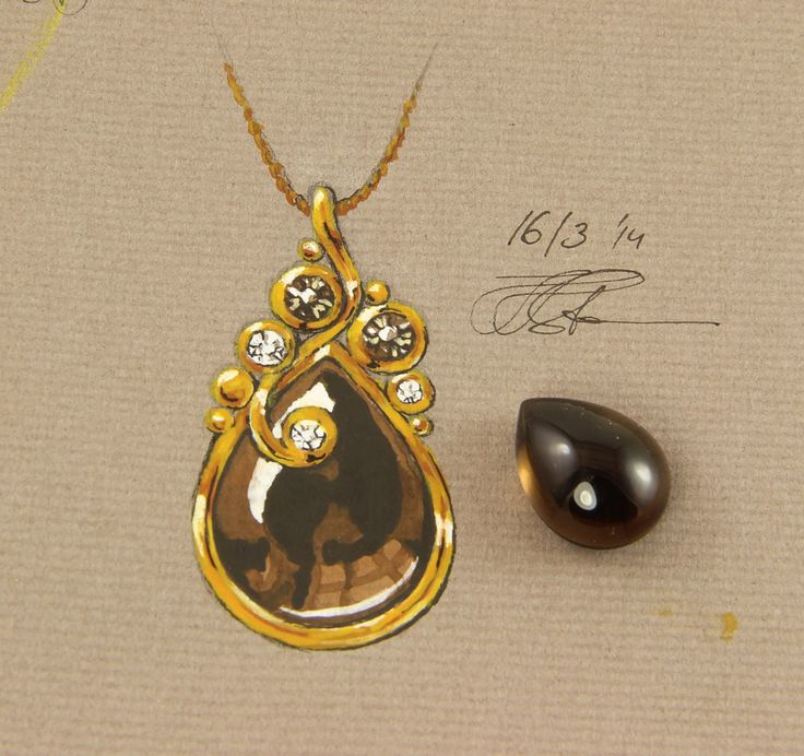 A possible necklace featuring a lovely smokey quartz drop shaped cab. It should be made of 18k gold with smaller facet cut smokey quartzes and diamonds. Possibly champagne diamonds?