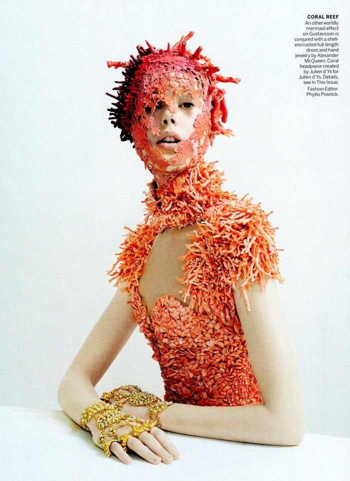 Frida Gustavsson by Tim Walker with Julien d'Ys's coral headpiece elevating already exquisite Alexander McQueen dress.
