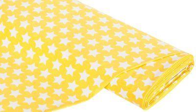 Baumwoll-Jersey+Sterne,+gelb/weiß € 9,95