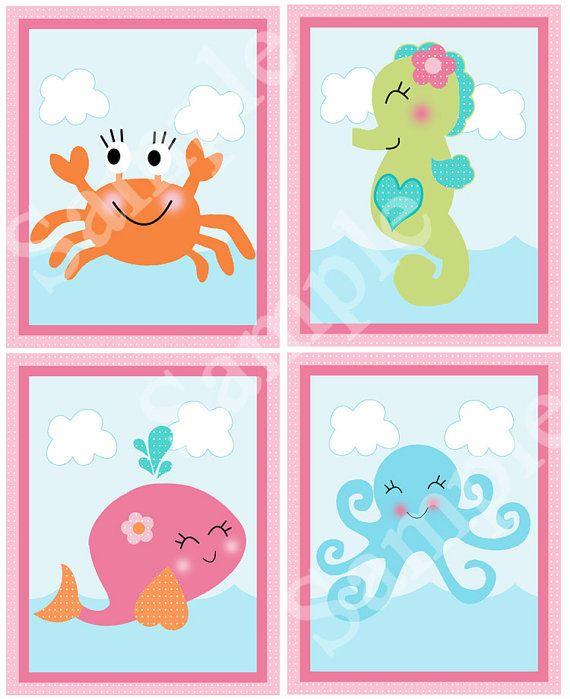 A la venta es este conjunto de 4 arte de vivero imprimible 8 x 10 en el tema bajo el mar/rosa ballena. Este listado es para la descarga