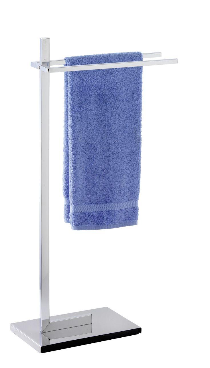 WENKO Handtuchständer Quadro mit 2 Stangen Kleiderständer  Description: Die Design-Serie Quadro verleiht dem Badezimmer klassische Eleganz mit neuer Optik aus hochwertigem Chrom-Vierkantrohr. In zeitlosem Design fügt sich der Handtuch- und Kleiderständer dezent in die Bade- oder Schlafzimmereinrichtung ein. Er bietet auf zwei nebeneinander verlaufenden Armen viel Platz für Handtücher und Kleidungsstücke. Die hochwertige schwere Bodenplatte sorgt für einen sicheren Stand. Der freistehende…