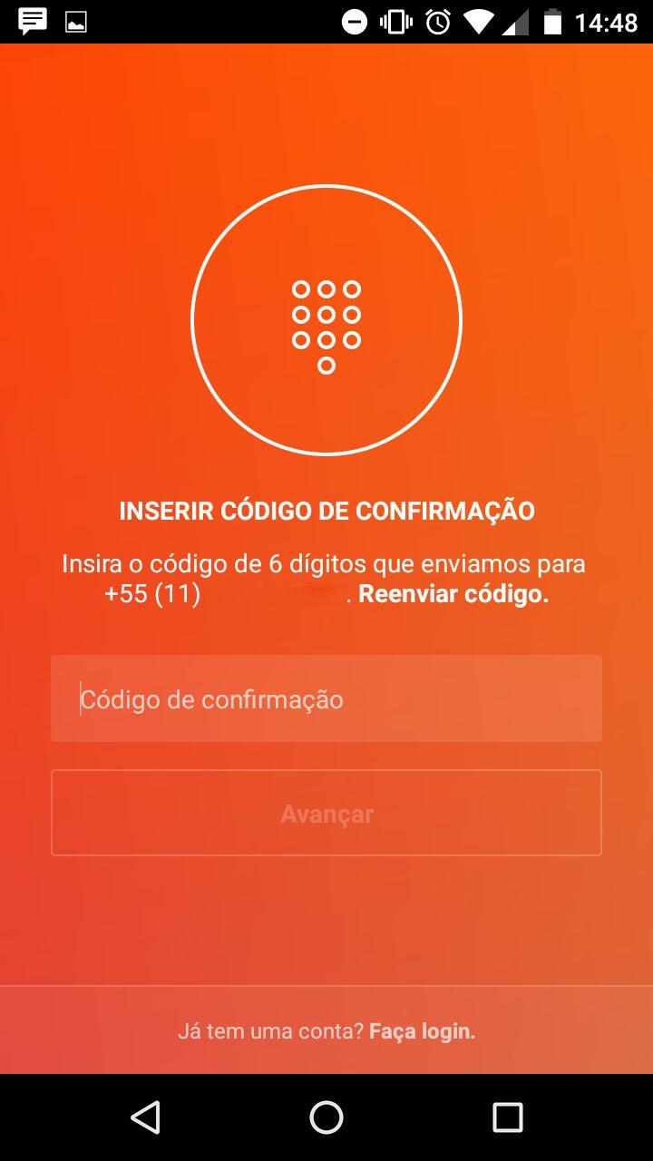 Instagram -  Criar conta - Digits 02