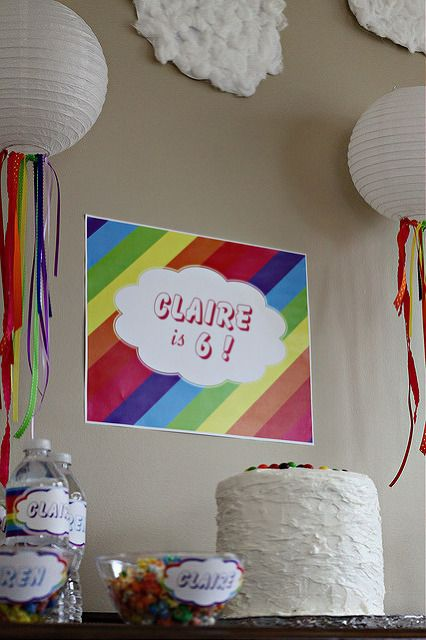 "Rainbow party decorations: rainbow ribbons from ""cloud"" lanterns. Cotton ball clouds"