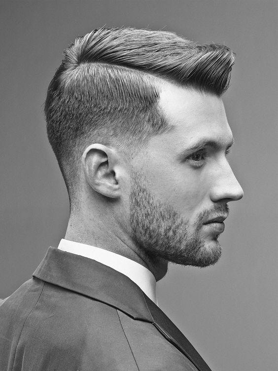 Suited men with short undercut hair