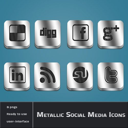Metallic-Social-Media-iconen