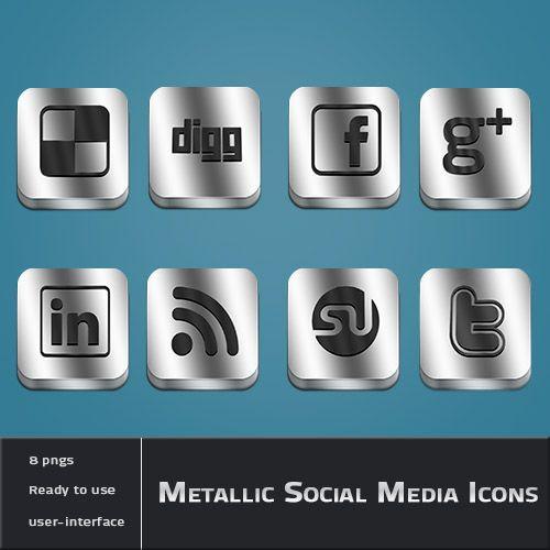 Metallic-Social-Media-iconen