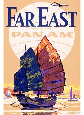 Pan Am Airlines Far East Poster Fine Art Vintage Giclee Print