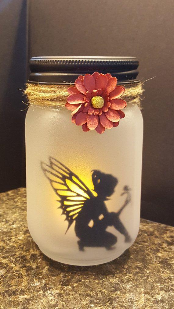 Beautiful Frosted Glass Jar Fairy Lantern Fairy Kneeling