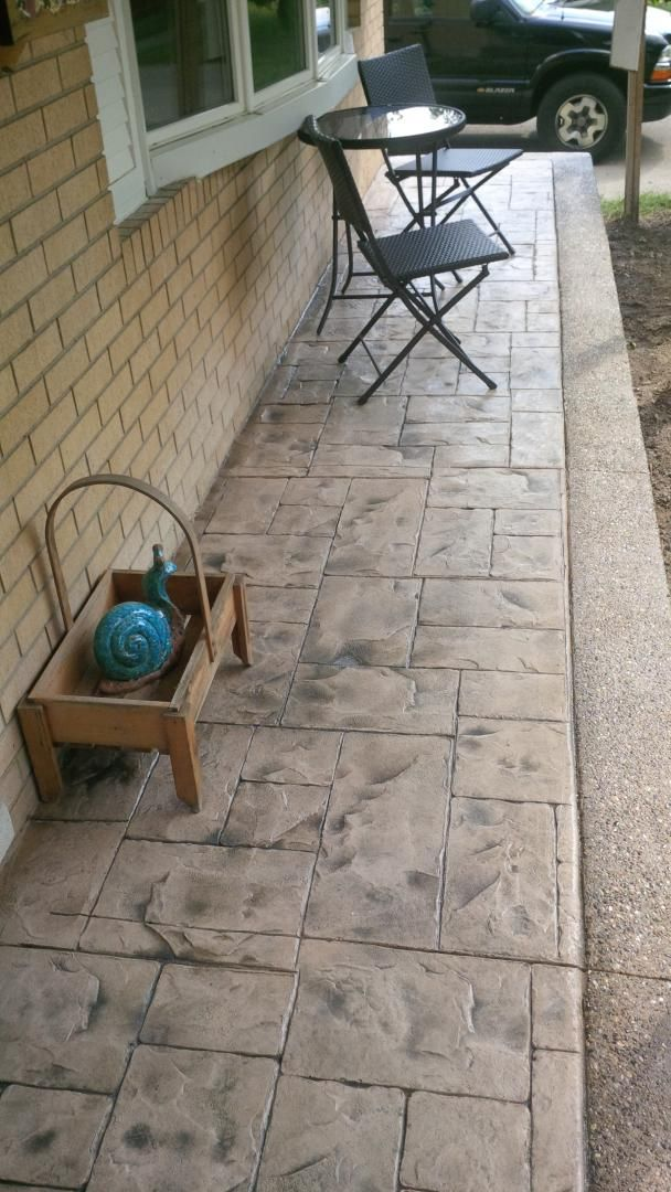 Ashlar Slate Stamped Concrete Porch With Gray And Brown