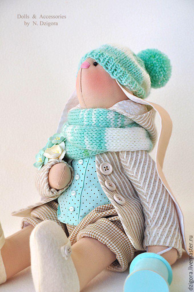 Купить Заяц текстильный мятно - кремовый - заяц, зайцы, заяц тильда, заяц текстильный