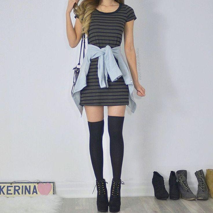 """Super into Tshirt dresses + thigh highs now! dress from @shoppriceless"" - Kerina Mango ♡♥♡♥♡♥"