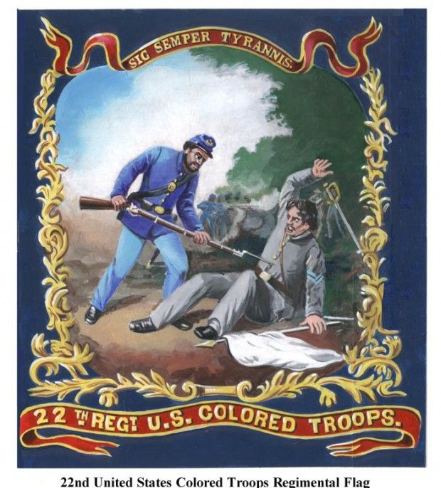 """The banner of the USCT 22nd Regiment. On the flag is inscribed the Latin words, """"Sic semper tyrannis"""" (""""thus always to tyrants"""" - shortened version of the phrase """"Sic semper evello mortem tyrannis"""" - """"Thus always I bring death to tyrants"""")."""
