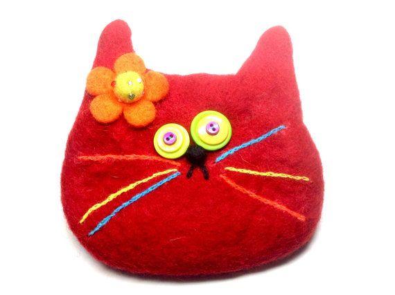 Gato rojo bolsa por showmealittlesign en Etsy