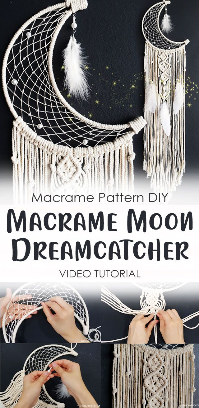 Diy Macrame Moon Dreamcatcher Tutorial Macrame Wall Hanging Idea Macrame Diy Moon Dreamcatcher Dream Catcher Tutorial