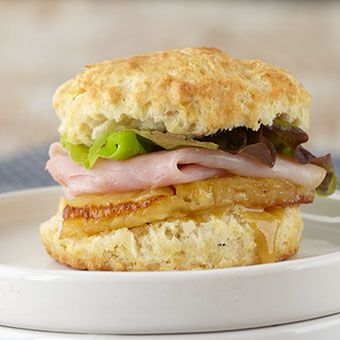 Ham & Pineapple Biscuit Sliders with Spicy Honey Mustard