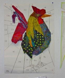 paper pieced rooster underconstruction