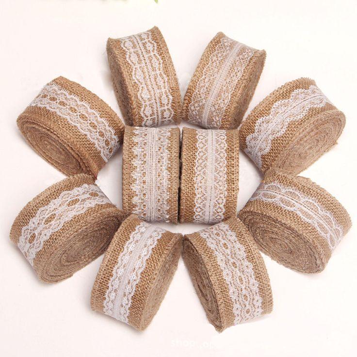 Diy Lace Natural Jute Burlap Ribbon Roll Rope Wedding Decor Clothing Accessories