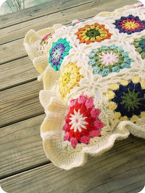 Beautiful Granny Square Pillow with TraceyNicole's notes on how she & her mother made it.