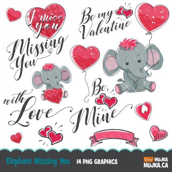 Valentine Clipart Cute Animals Valentine S Day Elephant Etsy Valentine Clipart Valentine Doodle Valentine Background