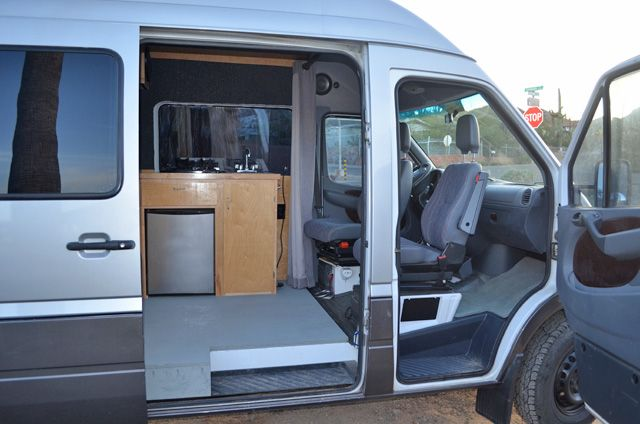 Diy Sprinter Camper Van Interior Showing Swiveling Front