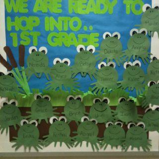 Kindergarten frog bulletin board