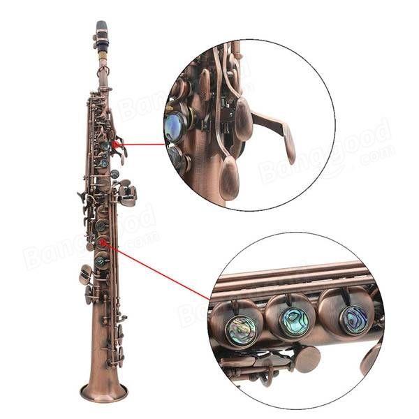 LADE WSS-899 Copper Soprano B♭ Saxophone Carved Abalone Shell Key Sale - Banggood.com