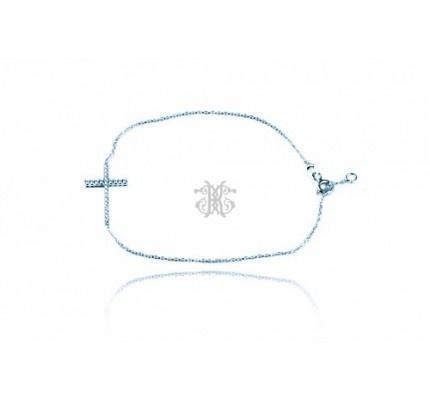 Βραχιόλι λευκόχρυσο με ζιργκόν #bracelet #whitegold #zircon #woman #cross