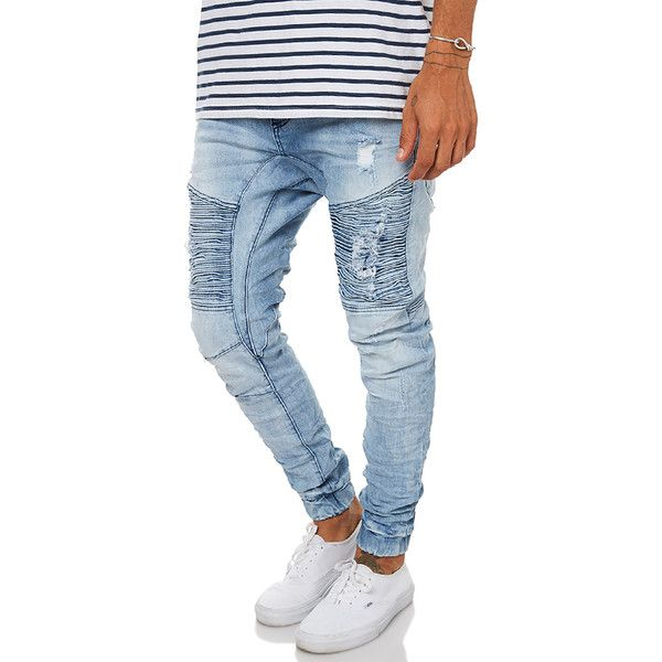 Nena And Pasadena Destroyer Mens Jogger Jean Blue ($110) ❤ liked on Polyvore featuring men's fashion, men's clothing, men's jeans, blue, jeans, men, mens skinny jeans, mens distressed skinny jeans, mens ripped skinny jeans and mens super skinny ripped jeans