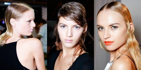 Stylingvarianten für sleek-Frisur für unterschiedliche Haarlängen-Nasshaar-Look