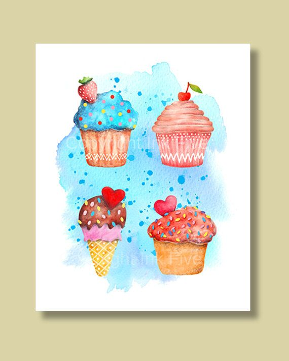 Sweet Muffins - kitchen watercolor art print wall decor. Cupcakes printable blue red pink illustration. Instant download food sweets poster