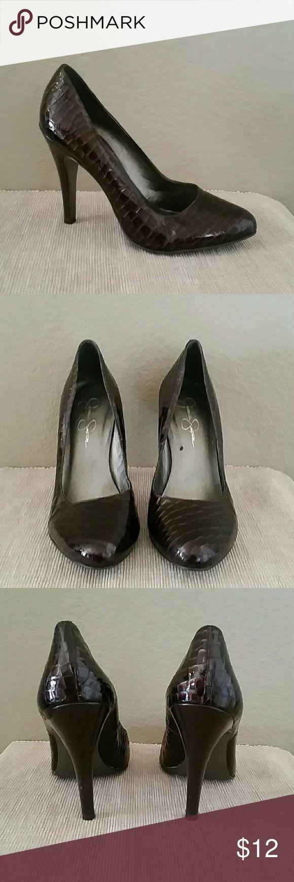 Brown Jessica Simpson heels pumps Jessica Simpson heels, size 8 1/2, some wear-see pics, brown, 4 1/2 inch heel Jessica Simpson Shoes Heels