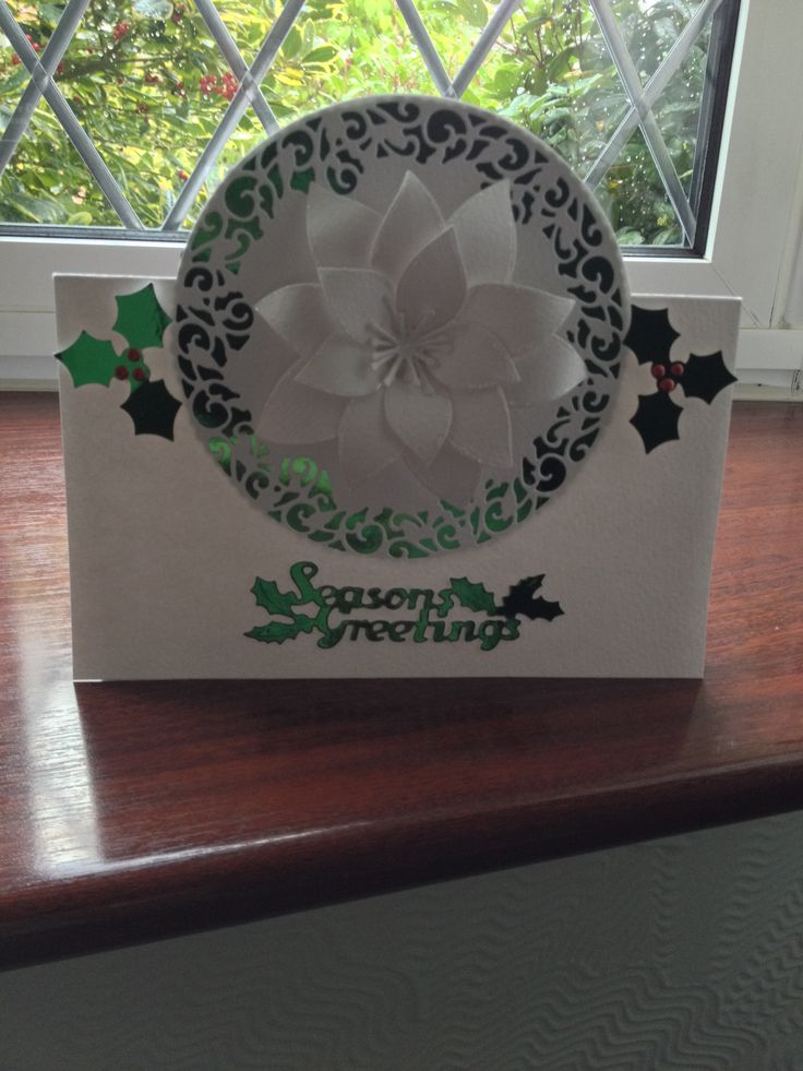 Made using Tonic Verso Die Holly Wreath and Tonic Poinsettia Die £1.00