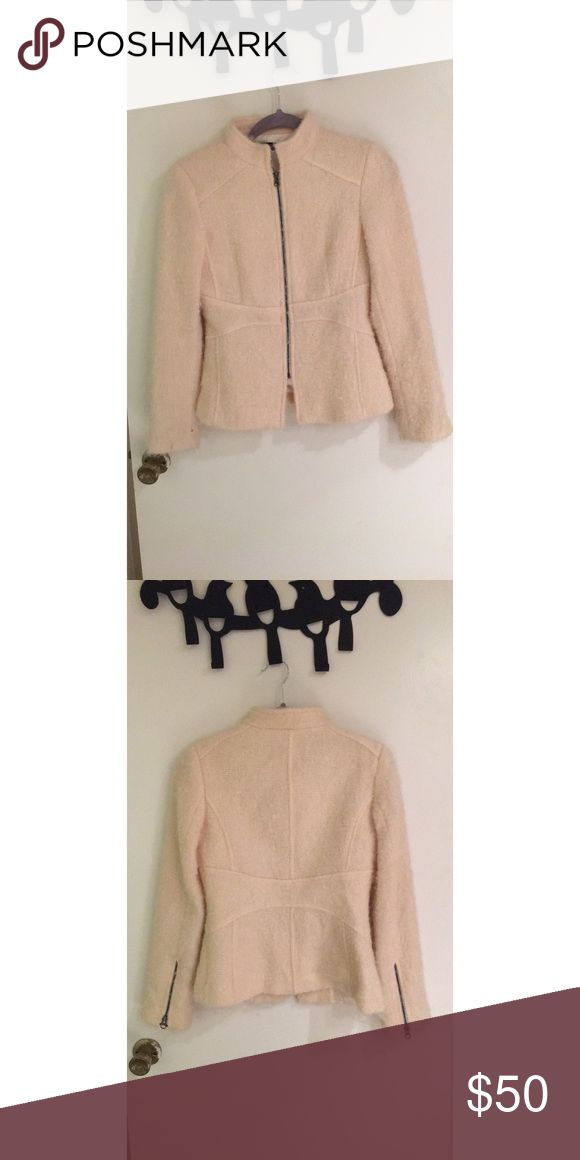 Zara coat Cream colored zip up Zara jacket. Material is kind of fuzzy but soft and the inner liner is silky. Never been worn Zara Jackets & Coats
