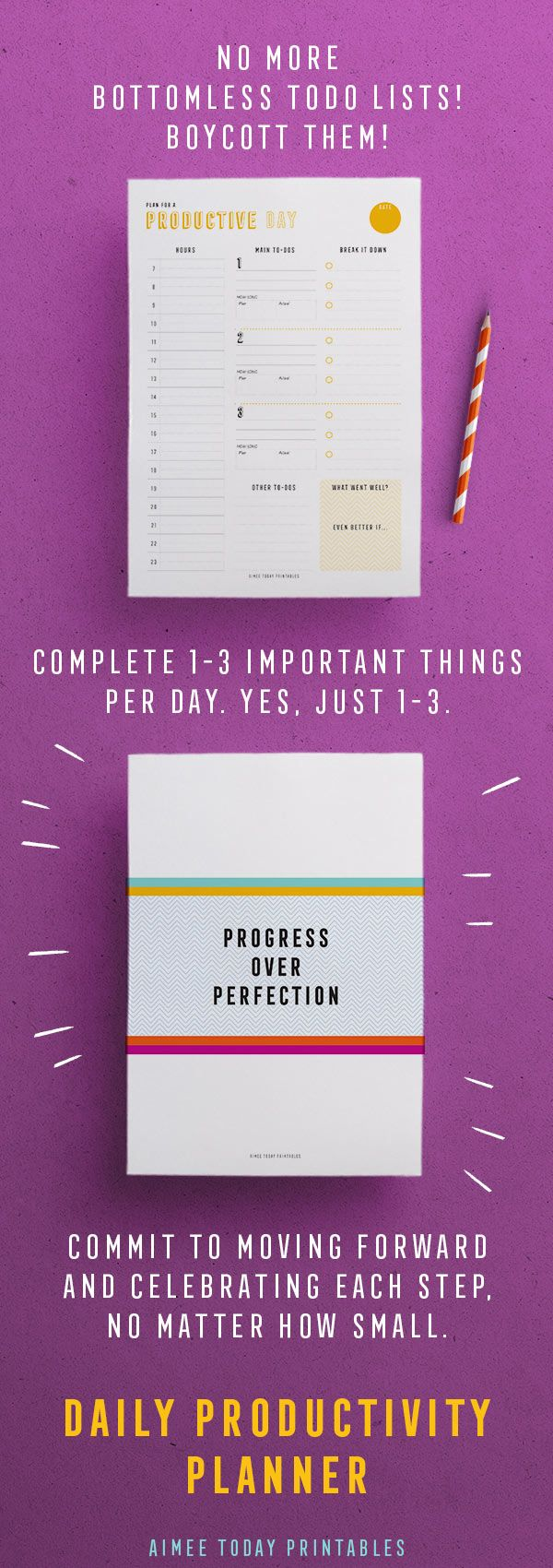 Progress over perfection! Yes! Daily productivity planner printable to help you do the stuff that matters and move forward with your projects. Less is more!