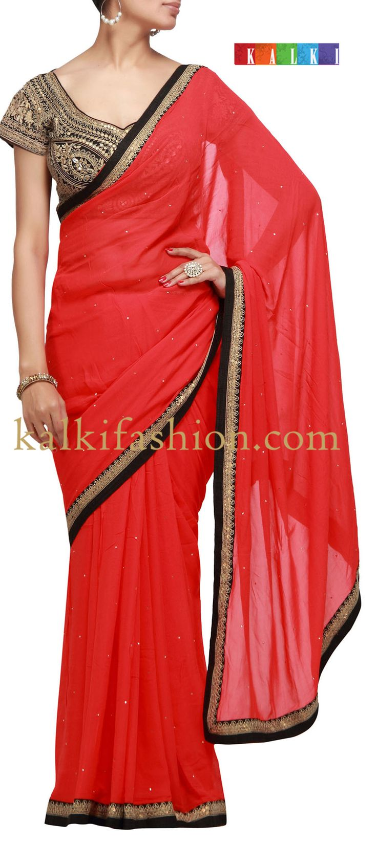 Buy it now  http://www.kalkifashion.com/red-chiffon-saree-with-badla-work.html  Red chiffon saree with badla work