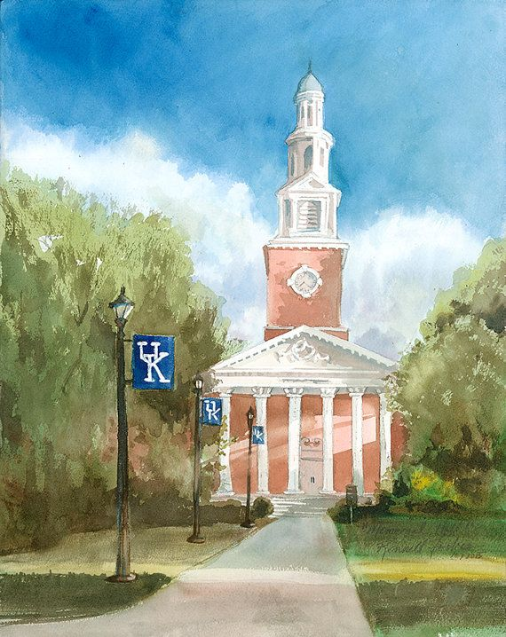 University of Kentucky Memorial Hall hand signed giclee print from an original watercolor. The original painting was inspired by a friend who