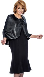 Dorinda Clark Cole 912-BLK ( 2pc Lacquered Jacquard Cape With Rhinestone Closure),Dorinda Clark Cole Fall And Holiday Suits 2017