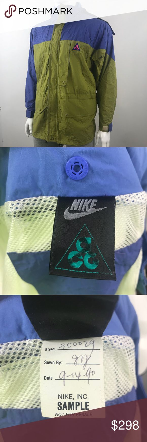Vintage Nike ACG Jacket w Hood Sample Men XL 1990s Vintage  Nike  ACG  Jacket w Hood  Sample Men's XL  1990s Please look at all pictures This is a Vintage Item that may have discoloration Overall Very good condition for age, Rare to have Hood with Jacket! Nike ACG Jackets & Coats Performance Jackets