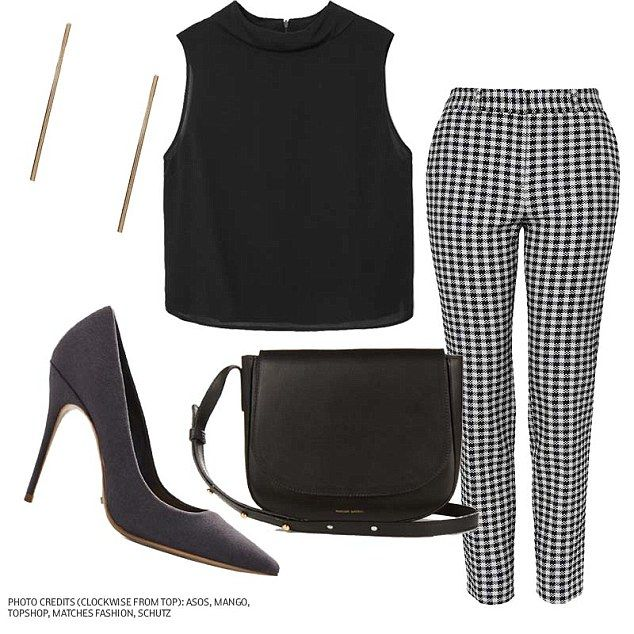 Rock the boardroom: For a subtle take on the trend, try a pair of black and white gingham pants. Pair them with a simple black top and pumps for a professional look