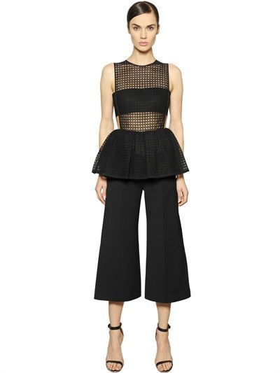 SELF-PORTRAIT - EYELET LACE & WOVEN PEPLUM JUMPSUIT - LUISAVIAROMA - LUXURY SHOPPING WORLDWIDE SHIPPING - FLORENCE
