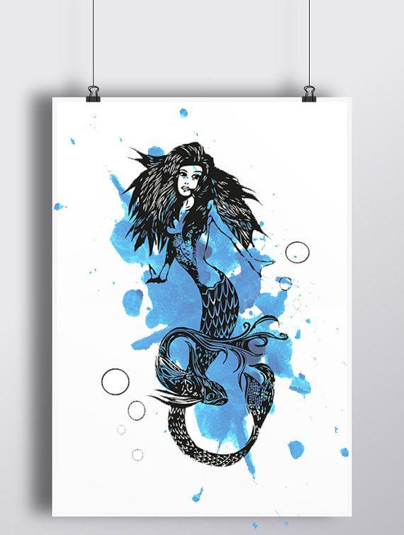 Illustrazione inchiostro  Sirena in china di RomeoJulietstudio