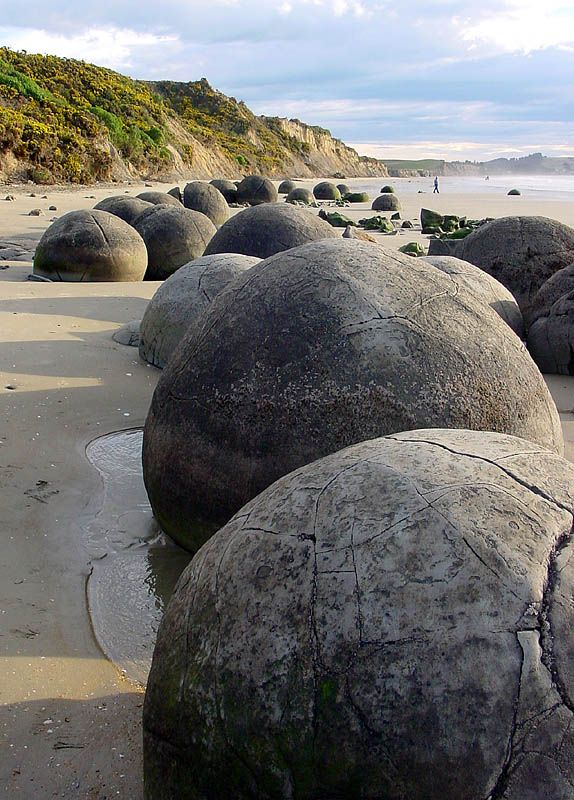 Moeraki Boulders 2 - Moeraki, Canterbury, New Zealand. It's a mystery how these boulders became so perfectly round!