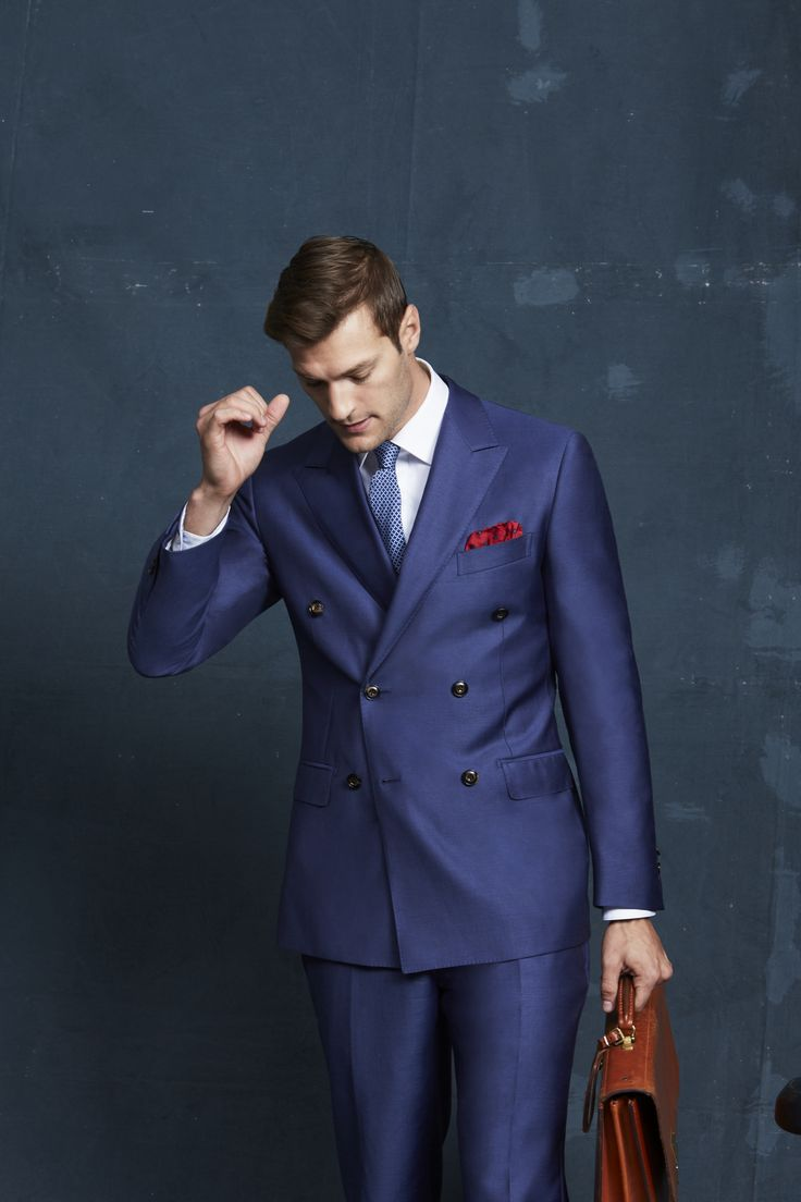 Cooper Double-Breasted Denim Jacket and Trouser; Doriemus White; Berlioz Navy Tie; Tamango Red Pocketchief