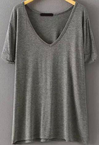 V+Neck+Loose+Grey+T-shirt+10.99