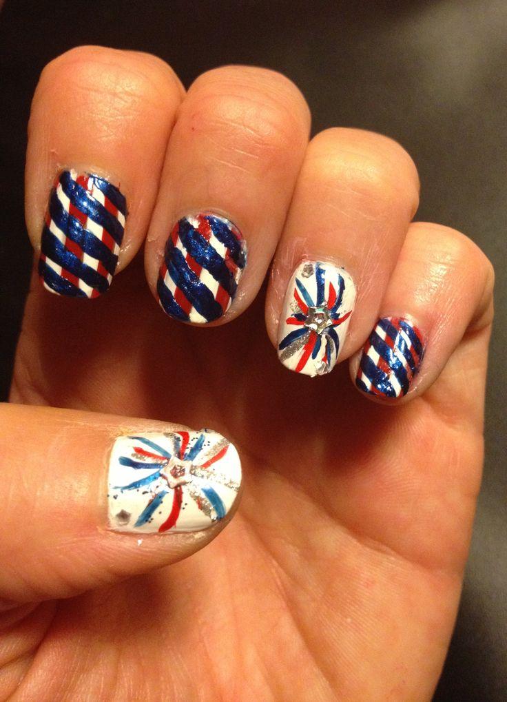 4th of July nail design. Nail art. Firework nail art design. Red white - Best 25+ Firework Nails Ideas On Pinterest Firework Nail Art